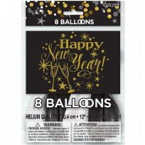 "Glittering New Year 12"" Latex Balloons (8)"